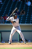 Scottsdale Scorpions Miguel Andujar (18), of the New York Yankees organization, during a game against the Mesa Solar Sox on October 18, 2016 at Sloan Park in Mesa, Arizona.  Mesa defeated Scottsdale 6-3.  (Mike Janes/Four Seam Images)