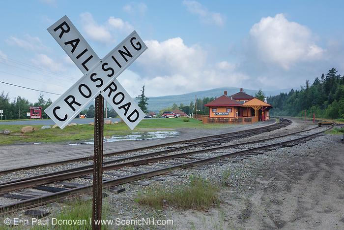 Railroad Crossing along the old Boston and Maine Railroad near Fabyans in Carroll, New Hampshire USA.