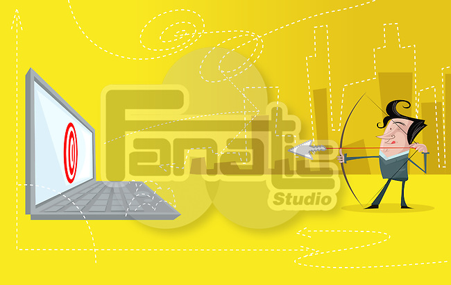 Illustrative image of businessman aiming arrow to achieve his online target