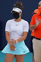 3rd April 2021; Miami Gardens, Miami, Florida, USA;   Bianca Andreescu (CAN) receives her second place trophy during the women's finals of the Miami Open on April 3, 2021, at Hard Rock Stadium in Miami Gardens, Florida.