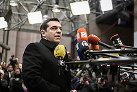 Pictured: Greek Prime Minister Alexis Tsipras Thursday 18 February 2016<br /> Re: David Cameron looks set to secure European Union deal on Britain's reforms during a summit in Brussels, Belgium.