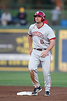 Sam Travis #6 of the Indiana Hoosiers runs the bases during a game against the Long Beach State Dirtbags at Blair Field on March 14, 2014 in Long Beach, California. Long Beach State defeated Indiana 4-3. (Larry Goren/Four Seam Images)