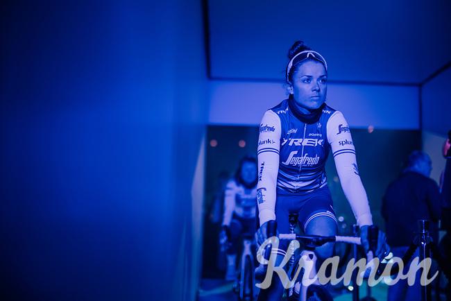 Audrey Cordon-Ragot (FRA/Trek-Segafredo) in the 'show-tunnel' leading into the 'Kuipke' velodrome where the team presentation takes place<br /> <br /> Omloop Het Nieuwsblad 2019 <br /> Gent to Ninove (BEL): 123km<br /> <br /> ©kramon