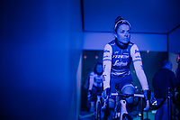 Audrey Cordon-Ragot (FRA/Trek-Segafredo) in the 'show-tunnel' leading into the 'Kuipke' velodrome where the team presentation takes place<br /> <br /> Omloop Het Nieuwsblad 2019 <br /> Gent to Ninove (BEL): 123km<br /> <br /> ©kramon