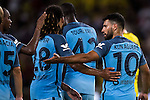 Manchester City striker Sergio Aguero (r) reacts during the 2016 International Champions Cup China match against Borussia Dortmund at the Shenzhen Stadium on 28 July 2016 in Shenzhen, China. Photo by Victor Fraile / Power Sport Images