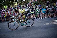 George Bennet (NZL/LottoNL-Jumbo) descending the Grand Colombier <br /> <br /> stage 15: Bourg-en-Bresse to Culoz (160km)<br /> 103rd Tour de France 2016