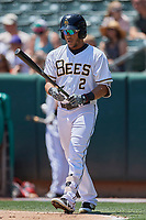 Michael Hermosillo (2) of the Salt Lake Bees bats against the El Paso Chihuahuas at Smith's Ballpark on July 8, 2018 in Salt Lake City, Utah. El Paso defeated Salt Lake 15-6. (Stephen Smith/Four Seam Images)