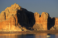 Houseboat on Lake Powell, Glen Canyon National Recreation Area.  Arizona, Utah.