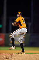 Pitcher Alex Speas (34) of McEachern High School in Powder Springs, Georgia playing for the Baltimore Orioles scout team during the East Coast Pro Showcase on July 29, 2015 at George M. Steinbrenner Field in Tampa, Florida.  (Mike Janes/Four Seam Images)