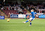 Arbroath v St Johnstone…15.08.21  Gayfield Park      Premier Sports Cup<br />Ali McCann scores from the penalty spot to win the game for saints<br />Picture by Graeme Hart.<br />Copyright Perthshire Picture Agency<br />Tel: 01738 623350  Mobile: 07990 594431
