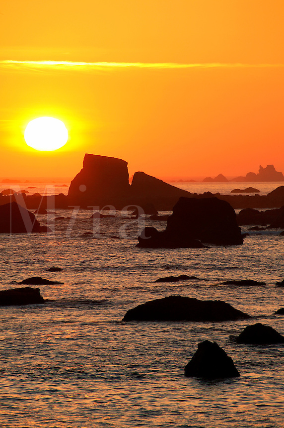 Pacific Ocean and coastline at sunset, Crescent City, California.