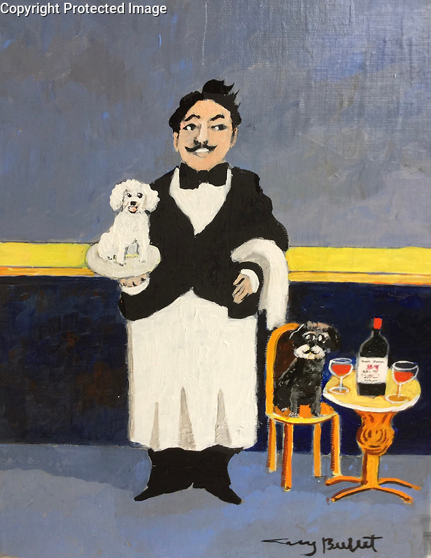 Example <br /> 2 Pets with Sommelier 14x11 Acrylic on Canvas