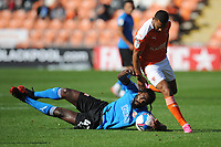 Swindon Town's Anthony Grant is fouled by Blackpool's Keshi Anderson<br /> <br /> Photographer Kevin Barnes/CameraSport<br /> <br /> The EFL Sky Bet League One - Blackpool v Swindon Town - Saturday 19th September 2020 - Bloomfield Road - Blackpool<br /> <br /> World Copyright © 2020 CameraSport. All rights reserved. 43 Linden Ave. Countesthorpe. Leicester. England. LE8 5PG - Tel: +44 (0) 116 277 4147 - admin@camerasport.com - www.camerasport.com