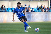 SAN JOSE, CA - MAY 15: Eric Remedi #5 of the San Jose Earthquakes passes the ball during a game between San Jose Earthquakes and Portland Timbers at PayPal Park on May 15, 2021 in San Jose, California.