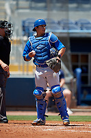 Dunedin Blue Jays catcher Christopher Bec (9) during a Florida State League game against the Charlotte Stone Crabs on April 17, 2019 at Charlotte Sports Park in Port Charlotte, Florida.  Charlotte defeated Dunedin 4-3.  (Mike Janes/Four Seam Images)