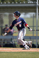 Minnesota Twins Mitch Garver (9) during a minor league spring training game against the Baltimore Orioles on March 28, 2015 at the Buck O'Neil Complex in Sarasota, Florida.  (Mike Janes/Four Seam Images)