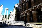 Teatro di Marcello built by Emperor Augustus in the 1st century BC and the three columns from the temple of Apollo Sosianus dating back to c.430 BC   in the Sant Angelo district of Rome.