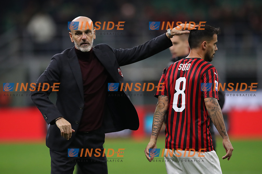 AC Milan head coach Stefano Pioli congratulates goalscorer Suso after the final whistle of the Serie A match at Giuseppe Meazza, Milan. Picture date: 31st October 2019. Picture credit should read: Jonathan Moscrop/Sportimage PUBLICATIONxNOTxINxUK SPI-0286-0041<br /> Milano 31-10-2019 Stadio San Siro <br /> Football Serie A 2019/2020 <br /> AC Milan - SPAL<br /> Photo Jonathan Moscrop/Sportimage / Imago  / Insidefoto <br /> ITALY ONLY