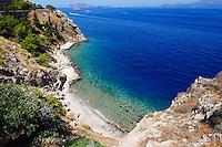 A beautiful beach near the port of Hydra island in Greece