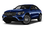Stock pictures of low aggressive front three quarter view of 2017 Mercedes Benz GLC-Coupe 300-4MATIC 5 Door SUV Low Aggressive