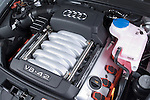High angle view engine detail of a 2006 Audi A6