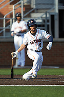 Carlos Canelon (8) of the Buies Creek Astros follows through on his swing against the Frederick Keys at Jim Perry Stadium on April 28, 2018 in Buies Creek, North Carolina. The Astros defeated the Keys 9-4.  (Brian Westerholt/Four Seam Images)