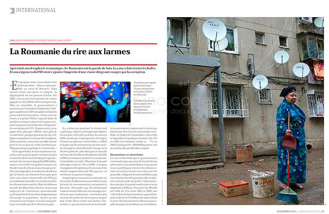 ENJEUX-LES-ECHOS French economic magazine)/.Romania - November 2010..Photo: Egyed Ufo Zoltan