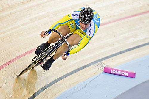 19 FEB 2012 - LONDON, GBR - The Ukraine's Andrii Vynokurov (UKR) attempts to qualify for the Men's Sprint during the UCI Track Cycling World Cup, and London Prepares test event for the 2012 Olympic Games, in the Olympic Park Velodrome in Stratford, London, Great Britain (PHOTO (C) 2012 NIGEL FARROW)