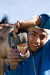 Teenage Guatemalan boy holds open the mouth of his horse revealing teeth on Volcan de Pacaya en Guatemala