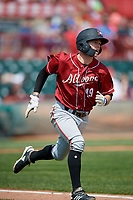 Altoona Curve Mitchell Tolman (19) runs to first base during an Eastern League game against the Erie SeaWolves and on June 4, 2019 at UPMC Park in Erie, Pennsylvania.  Altoona defeated Erie 3-0.  (Mike Janes/Four Seam Images)
