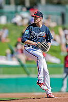 25 February 2019: Atlanta Braves pitcher Max Fried on the mound during a pre-season Spring Training game against the Washington Nationals at Champion Stadium in the ESPN Wide World of Sports Complex in Kissimmee, Florida. The Braves defeated the Nationals 9-4 in Grapefruit League play in what will be their last season at the Disney / ESPN Wide World of Sports complex. Mandatory Credit: Ed Wolfstein Photo *** RAW (NEF) Image File Available ***