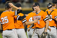 Oklahoma State Cowboys outfielder Ryan Sluder (8) celebrates with his teammates after beating the Arizona Wildcats in Game 6 of the NCAA College World Series on June 20, 2016 at TD Ameritrade Park in Omaha, Nebraska. Oklahoma State defeated Arizona 1-0. (Andrew Woolley/Four Seam Images)