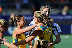 The Hague, Netherlands, June 12: Jayde Taylor #21 of Australia, Kirstin Dwyer #6 of Australia and Ashlee Wells #5 of Australia celebrates after winning the field hockey semi-final match (Women) between USA and Australia on June 12, 2014 during the World Cup 2014 at Kyocera Stadium in The Hague, Netherlands. Final score after full time 2-2 (0-1). Score after shoot-out 1-3. (Photo by Dirk Markgraf / www.265-images.com) *** Local caption ***