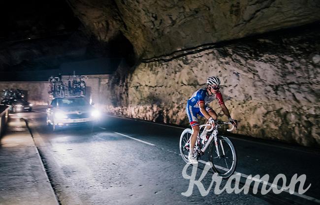 Arnaud Démare (FRA/Groupama-FDJ) rolling as the very last through a spectacular huge/dark cave: the 'Grotte du Mas-d'Azil'<br /> <br /> Stage 16: Carcassonne > Bagnères-de-Luchon (218km)<br /> <br /> 105th Tour de France 2018<br /> ©kramon