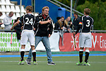 GER - Mannheim, Germany, May 16: During the whitsun tournament boys hockey match between Germany (black) and The Netherlands (orange) on May 16, 2016 at Mannheimer HC in Mannheim, Germany. Final score 4-3 (HT 2-0). (Photo by Dirk Markgraf / www.265-images.com) *** Local caption *** Christopher Kutter #24 of Germany (U16), Hannes Mueller #3 of Germany (U16)