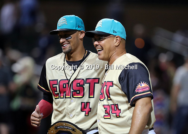 Royce Lewis is presented with the Player of the Game award by Salt River Rafters manager Keith Johnson after the annual Arizona Fall League Fall Stars Game at Salt River Fields on October, 12, 2019 in Scottsdale, Arizona (Bill Mitchell)