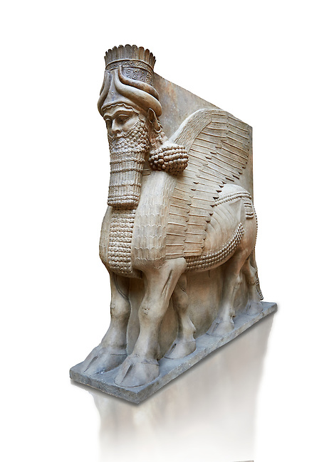 Stone statue of a winged bull. From facade m, door K,  Inv AO 19857 from Dur Sharrukin the palace of Assyrian king Sargon II at Khorsabad, 713-706 BC.  Louvre Museum Room 4 , Paris