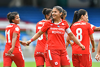 CALI – COLOMBIA, 20-11-2020: Catalina Usme del América celebra después de anotar el segundo gol de su equipo partido por la Fecha 6 de la Liga Femenina BetPlay DIMAYOR 2020 entre América de Cali y Deportivo Pasto jugado en el estadio Pascual Guerrero de la ciudad de Cali. / Catalina Usme of America celebrates after scoring the second goal of his team during match for the date 6 as part of Women's BetPlay DIMAYOR League 2020 between America de Cali and Deportivo Pasto played at Pascual Guerrero stadium in Cali city. Photos: VizzorImage / Nelson Rios / Cont /.