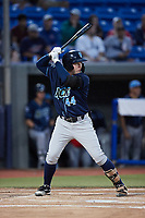 Justin Connell (44) of the Wilmington Blue Rocks at bat against the Hudson Valley Renegades at Dutchess Stadium on July 27, 2021 in Wappingers Falls, New York. (Brian Westerholt/Four Seam Images)