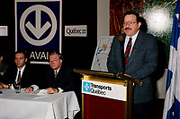 Laval (Qc) CANADA - Oct 8 1998 File Photo -<br /> Minister Jacques Brassard speak at a press conference to annnonce the the montreal metro will expand to Laval city.