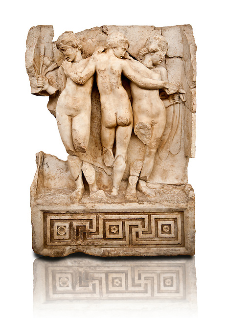Photo of Roman releif sculpture of Tree Graces from the South Building, Second storey, Aphrodisias, Turkey, Images of Roman art bas releifs. Buy as stock or photo art prints.