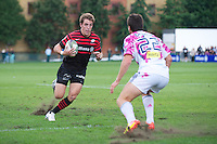20120823 Copyright onEdition 2012©.Free for editorial use image, please credit: onEdition..Chris Wyles of Saracens looks to sidestep Pierre Margueray of Stade Francais Paris at The Honourable Artillery Company, London in the pre-season friendly between Saracens and Stade Francais Paris...For press contacts contact: Sam Feasey at brandRapport on M: +44 (0)7717 757114 E: SFeasey@brand-rapport.com..If you require a higher resolution image or you have any other onEdition photographic enquiries, please contact onEdition on 0845 900 2 900 or email info@onEdition.com.This image is copyright the onEdition 2012©..This image has been supplied by onEdition and must be credited onEdition. The author is asserting his full Moral rights in relation to the publication of this image. Rights for onward transmission of any image or file is not granted or implied. Changing or deleting Copyright information is illegal as specified in the Copyright, Design and Patents Act 1988. If you are in any way unsure of your right to publish this image please contact onEdition on 0845 900 2 900 or email info@onEdition.com
