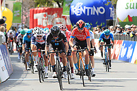 21st April 2021; Imst, Austria;  Cycling Tour des Alpes Stage 3,  Imst in Austria to Naturns/Naturno, Italy; The peloton at the finish line