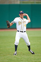 Montgomery Biscuits pitcher Jordan Harrison (28) warms up before a game against the Jackson Generals on April 29, 2015 at Riverwalk Stadium in Montgomery, Alabama.  Jackson defeated Montgomery 4-3.  (Mike Janes/Four Seam Images)