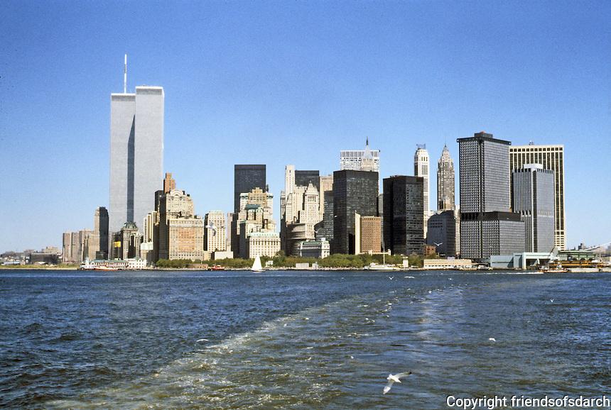 New York: Lower Manhattan skyline from Staten Island Ferry. Photo '85.