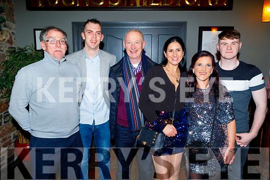 Jimmy Browne, Paul Dennehy, Jerry Hannifin, Marzana Sanpolska, Sarah Whitehead and Dylan O'Shea enjoying their Garveys Supervalu Christmas party in the Ashe Hotel on Saturday.