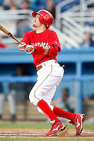 July 3, 2009:  Shortstop Ryan Jackson of the Batavia Muckdogs at bat during a game at Dwyer Stadium in Batavia, NY.  The Muckdogs are the NY-Penn League Short-Season Class-A affiliate of the St. Louis Cardinals.  Photo By Mike Janes/Four Seam Images