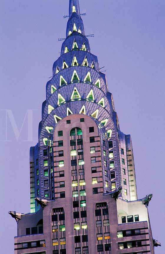 USA, New York, New York City. The Chrysler Building illuminated at night..NO PROPERTY RELEAS