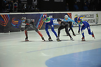 SPEEDSKATING: DORDRECHT: 05-03-2021, ISU World Short Track Speedskating Championships, QF 1500m Men, Charles Hamelin (CAN), Luca Spechenhauser (ITA), Ryan Pivirotto (USA), Rino Vanhooren (BEL), Pietro Sighel (ITA), ©photo Martin de Jong