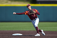 Virginia Tech Hokies shortstop Tanner Schobel (8) makes a throw to first base against the Boston College Eagles at English Field on April 3, 2021 in Blacksburg, Virginia. (Brian Westerholt/Four Seam Images)